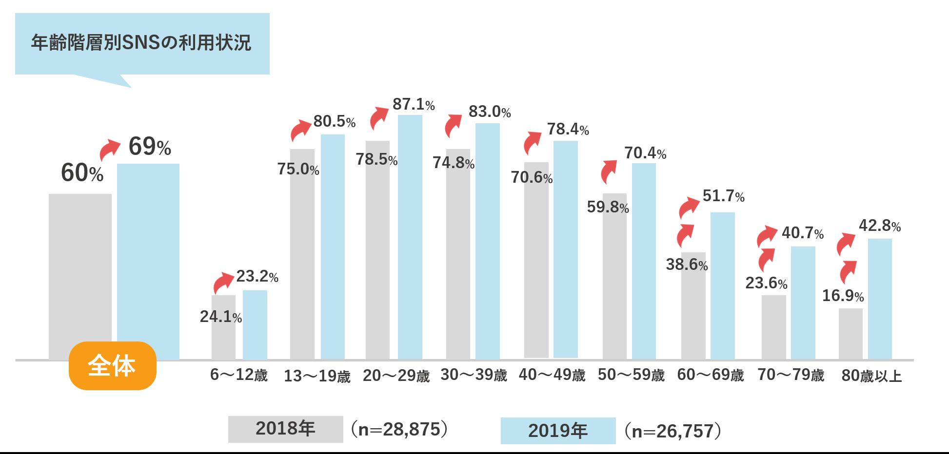 年齢階層別SNSの利用状況の変化